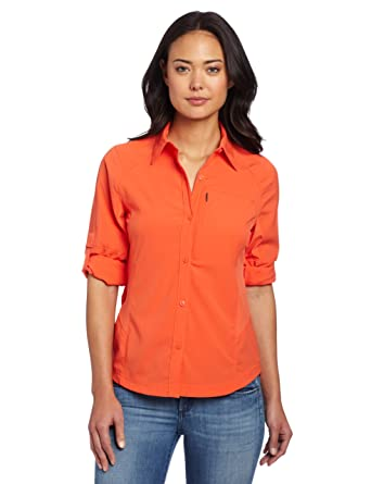 Silver Ridge Long Sleeve Shirt Nylon Orange Size L Columbia Womens AL7079 Longsleeve Button-Up Hiking Shirt Zing