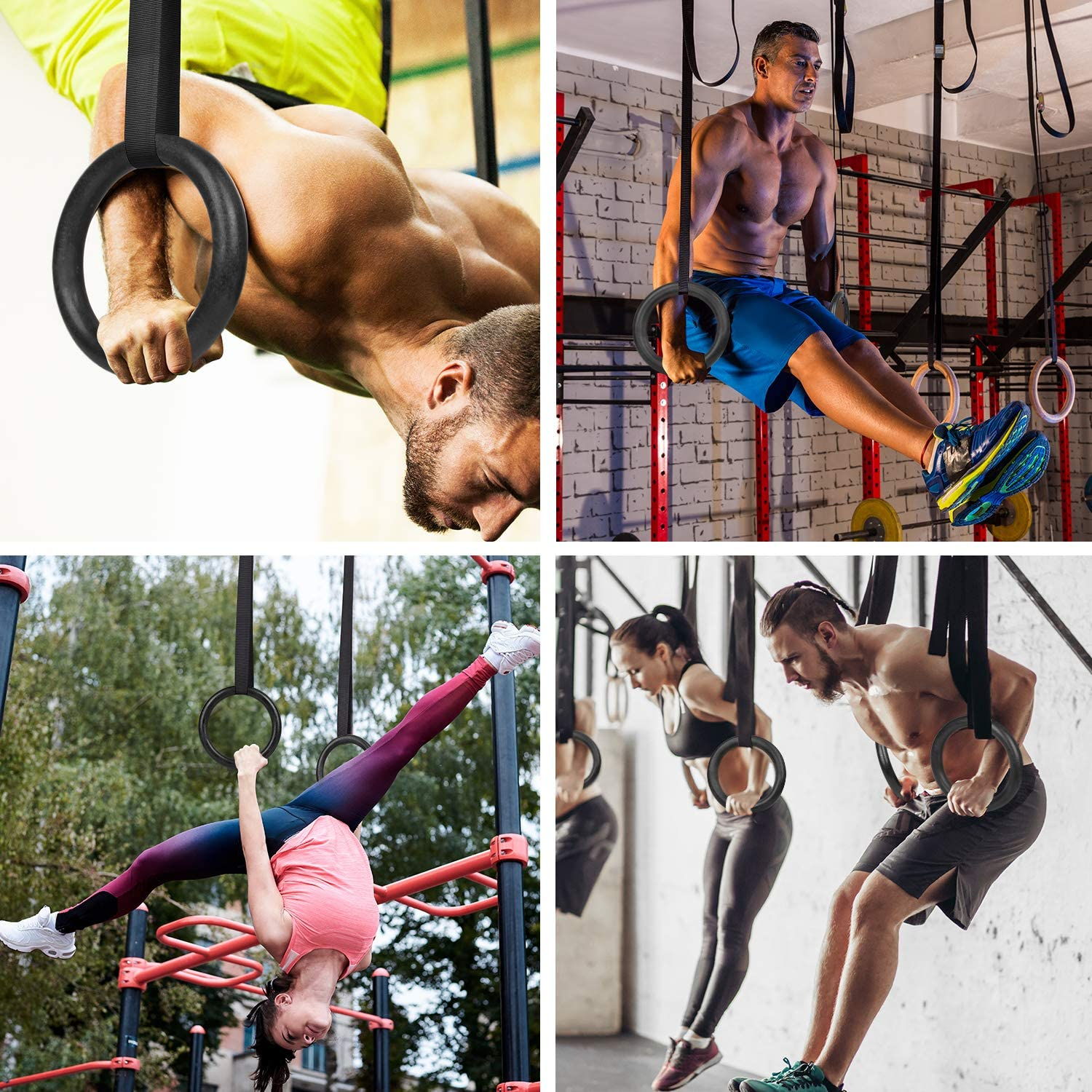 Wood Gymnastic Rings Gym Workout Rings for Full Body Upper Arm Muscle Strength Training Wooden Exercise Rings High Sturdiness with 15 Feet Solid Straps /& Lock Buckles for Pull Ups Muscle Ups Dips