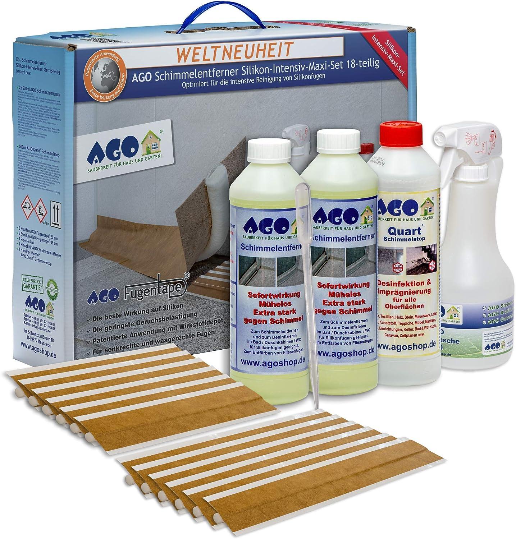 AGO® Schimmelentferner Silikon Intensiv Maxi Set 112tlg I Schimmelentfernung  für Silikonfugen Wand & Co I Schimmel Blocker Set 12X AGO® ...