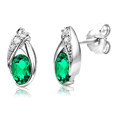 ByJoy Earrings for Women Sterling Silver Emerald with Cubic zirconia brilliant cut 925 Silver 641fs1