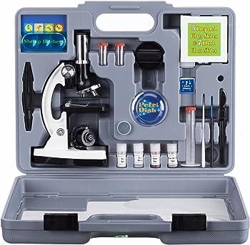 52-Pieces AmScope 120X-1200X Kids Beginner Microscope STEM Kit