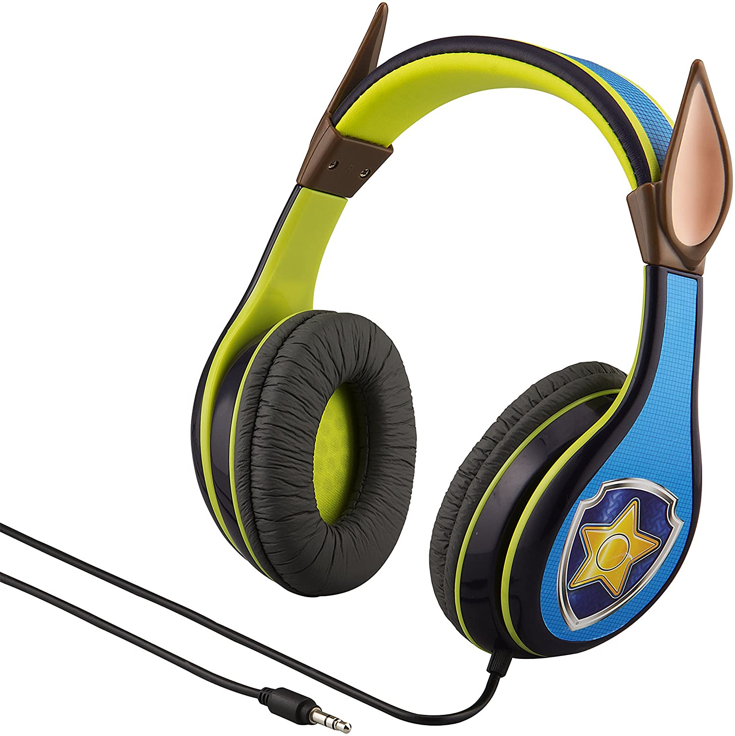 Paw Patrol Chase Kids Headphones, Adjustable Headband, Stereo Sound, 3.5Mm Jack, Wired Headphones for Kids, Tangle Free, Volume Control, Foldable Over Ear for School Home Travel