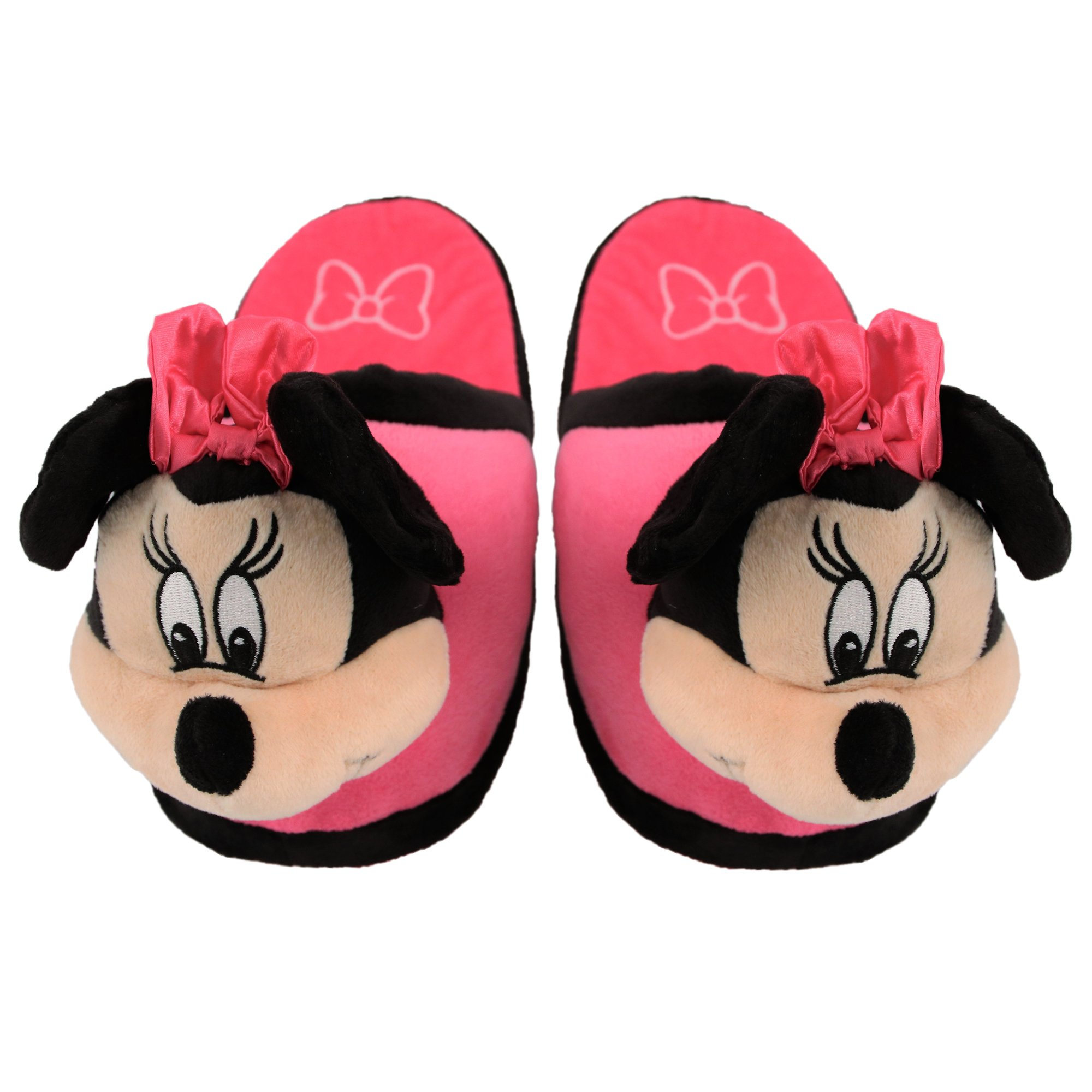 Stompeez Animated Minnie Mouse Plush Slippers - Ultra Soft and Fuzzy - Ears Flap as You Walk - Medium