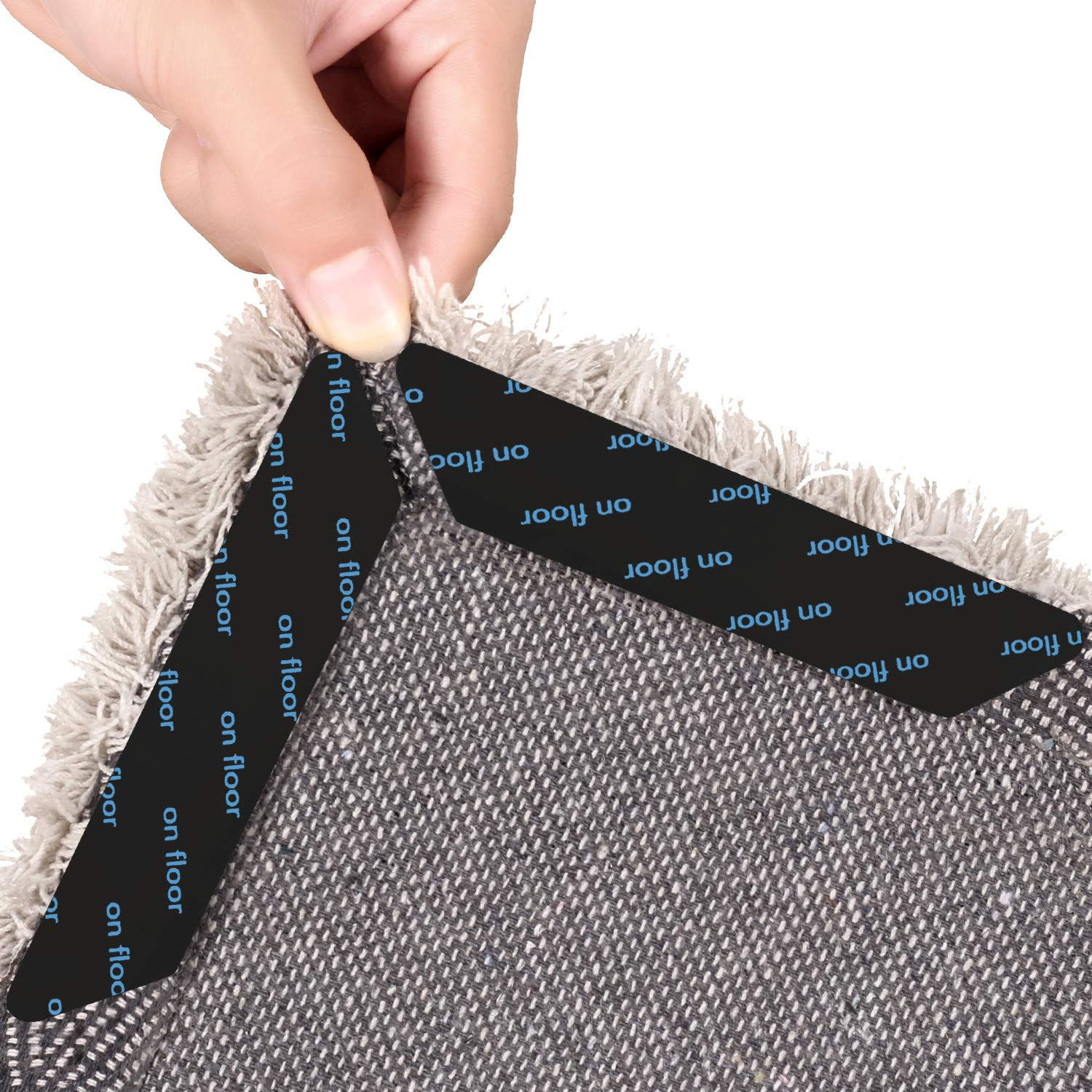 TZAMCW Rug Grippers, 12PCS Anti Curling Carpet Grippers with Renewable Gripper Tape Ideal Anti Slip Rug Pad for Your Rugs,Keeps Your Rug in Place and Makes Corners Edge Flat