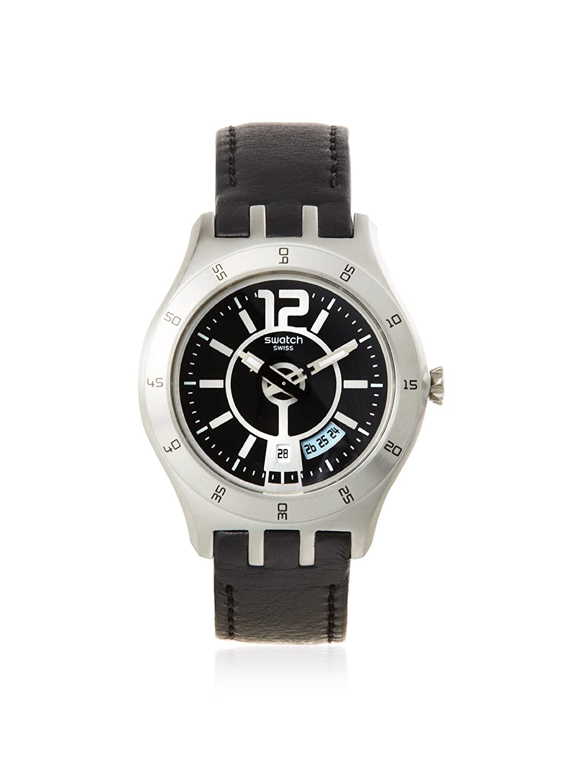 053af05a7221 Amazon.com  Swatch Men s YTS400 Black Leather Watch  Watches