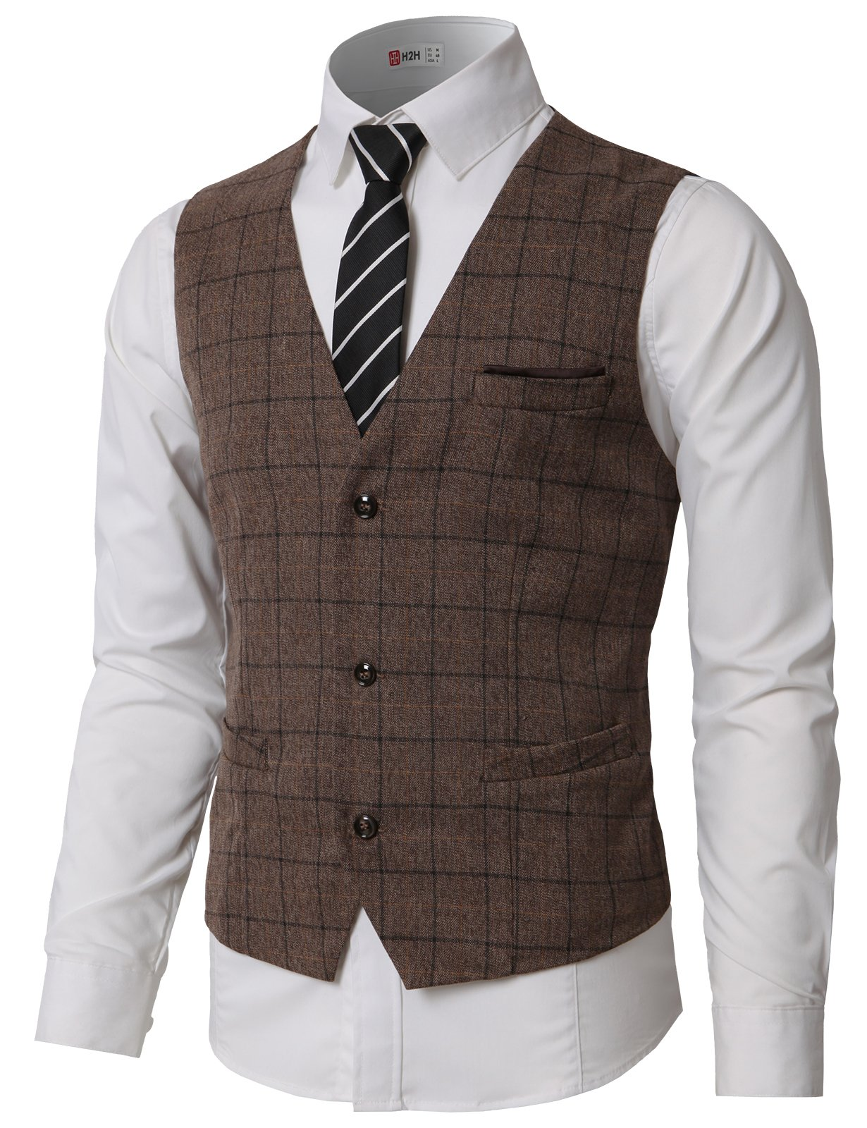 H2H Mens Top Designed Casual Slim Fit Skinny Dress Vest Waistcoat Brown US 2XL/Asia 3XL (CMOV047)