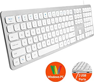 X9 Performance Slim Wired Keyboard for Laptop or Desktop - Designed for Windows PC - Convenient Full Size 110 Key Layout with 17 Shortcuts and 2 Port USB Hub - Plug and Play USB Keyboard - Aluminum