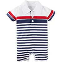 BIG ELEPHANT Baby Boys' 1 Piece Stripe Summer Short Sleeve Romper Pajama L08L09