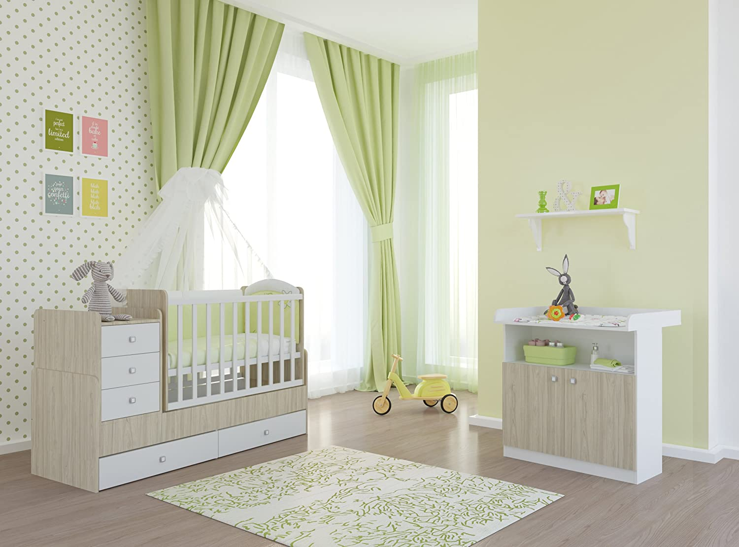 polini kids babyzimmer set mit babybett kinderbett juniorbett simple 1100 und wickelkommode. Black Bedroom Furniture Sets. Home Design Ideas