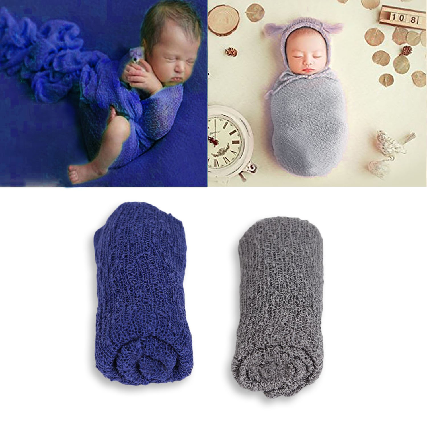 Aniwon 2 Pcs Baby Photography Props Photo Long Ripple Wrap Blanket for Newborn