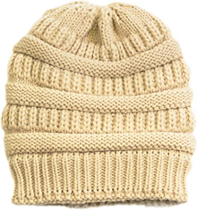 Chunky Soft Stretch Cable Knit Beanie Hair Ball hat Keep Warm Casual