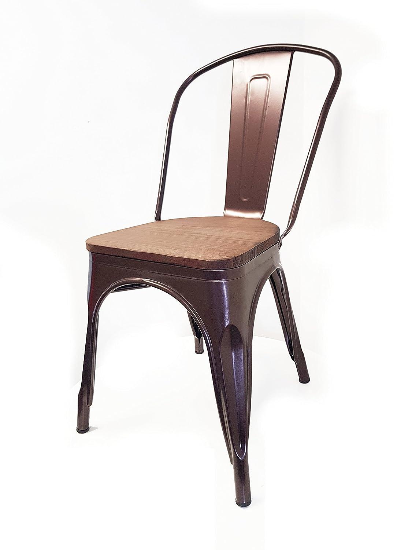 Snug Furniture Sedia da ufficio vintage in acciaio zincato e sedia da pranzo in metallo con rivestimento in metallo bronzo tolixin