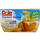 DOLE FRUIT BOWLS Mandarin Oranges in Juice, 4 Cups (6 Pack)