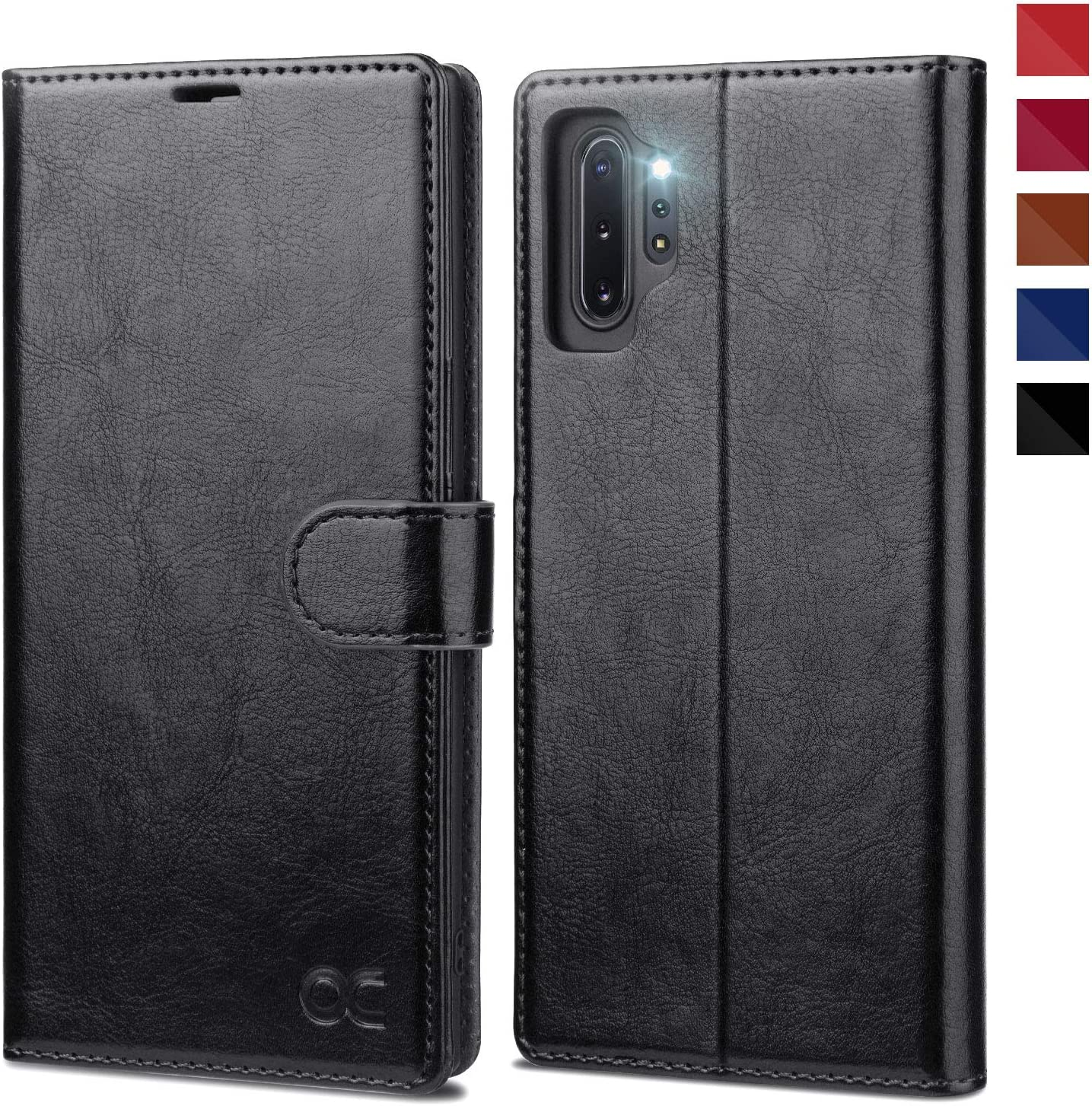 OCASE Galaxy Note 10 Plus Wallet Case, Note 10 Plus 5G Leather Flip Case with Card Holder Kickstand and Magnetic Closure, TPU Shockproof Phone Cover for Samsung Galaxy Note10 Plus 6.8 Inch (Black)