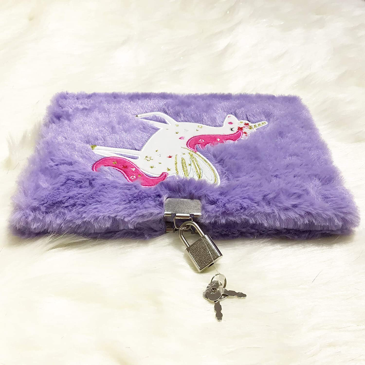 Purple Green Sun Plush Notebook with Lock and Embroidery by Pure Handcrafted