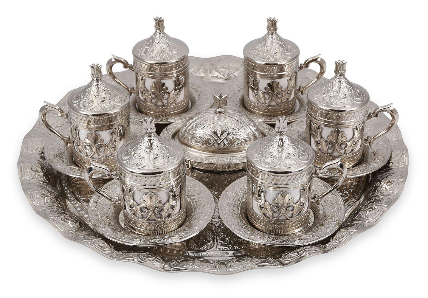 Traditional Design Brass Cast Turkish Armenian Arabic Greek Coffee Set, Coffee Cup, Espresso Set, Tea Set for Two-(CS6-204) Handcraftideas