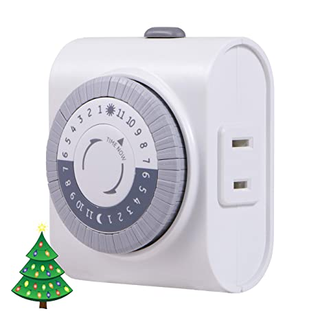 GE 24-Hour Indoor Plug-in Mechanical Timer, Big Button for Easy Programing,  1 Polarized Outlet, 30 Minute Intervals, Daily On/Off Cycle, for Lamps,