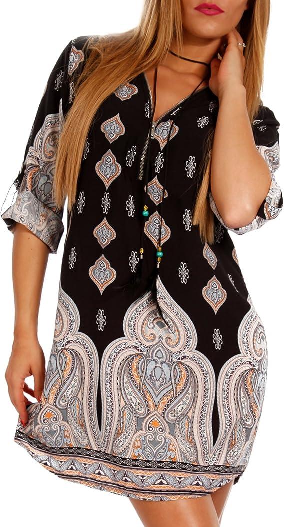 Plus Size Damen Shirtkleid Elefant Blumen Freizeit Sommer Baggy Tunika Etuikleid