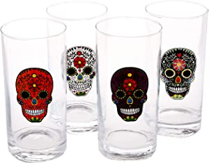 Circleware Sugar Skull Drinking Glasses, Set of 4, Heavy Base Juice Tumbler Ice Tea Cups, Home Entertainment Glassware for Water, Beer & All Beverages, 14.5 oz, Black, White, Purple and Orange