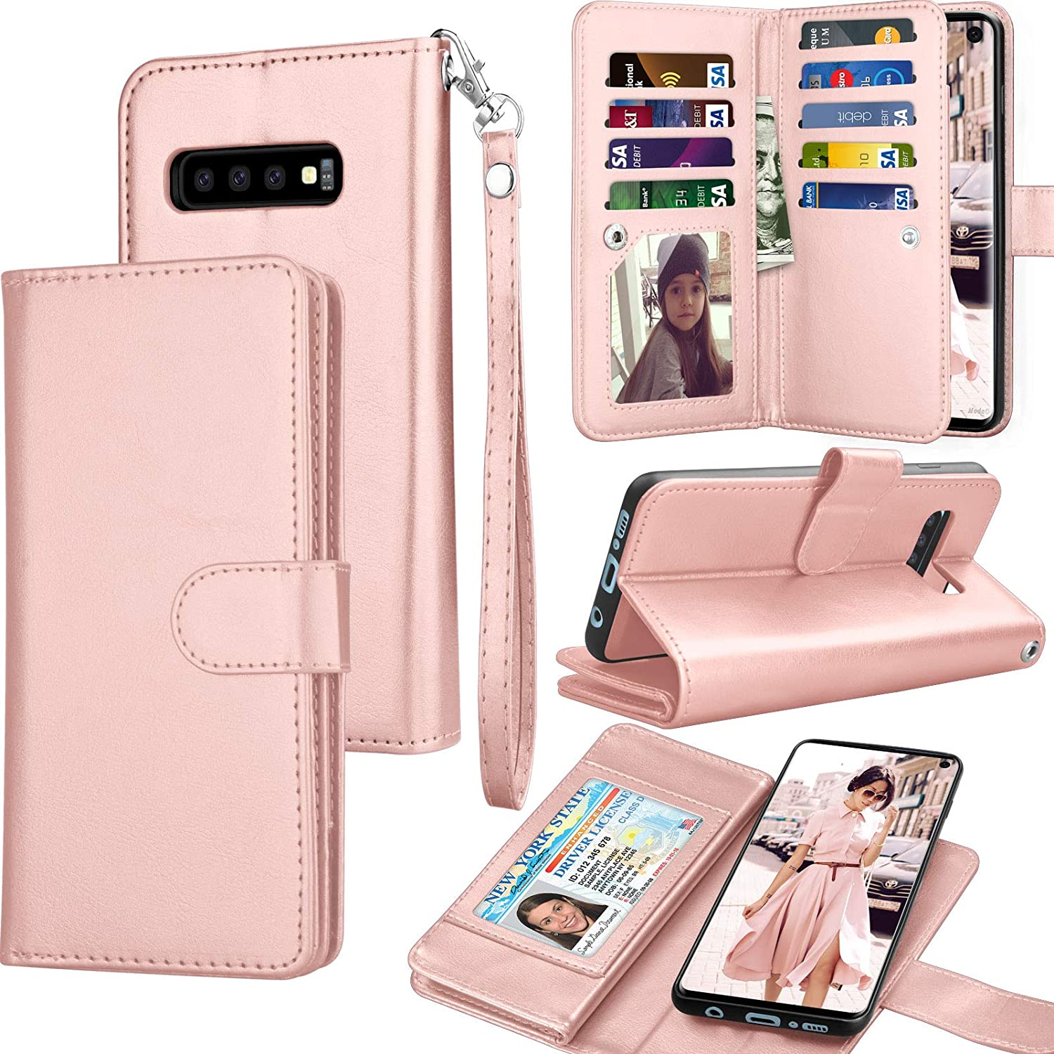 Tekcoo for Galaxy S10 Case, for Galaxy S10 Wallet Case/PU Leather, Luxury Cash Credit Card Slots Holder Carrying Folio Flip Cover [Detachable Magnetic Hard Case] Kickstand for Samsung S10 -Rose Gold