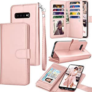 Tekcoo for Galaxy S10 Plus Case, for S10 Plus Wallet Case/PU Leather, Luxury Cash Credit Card Slots Holder Carrying Folio Flip Cover [Detachable Magnetic Case] Kickstand for Samsung S10+ Rose Gold