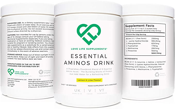 Bebida esencial de aminoácidos por LLS | Sabor a limón y lima | 342g - 60 porciones | Suplementos Love Life - Puros, efectivos, de alta calidad