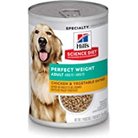 Hills Science Diet Adult Perfect Weight Chicken & Vegetable Canned Dog Food for healthy weight management, 12.8 oz, 12pk
