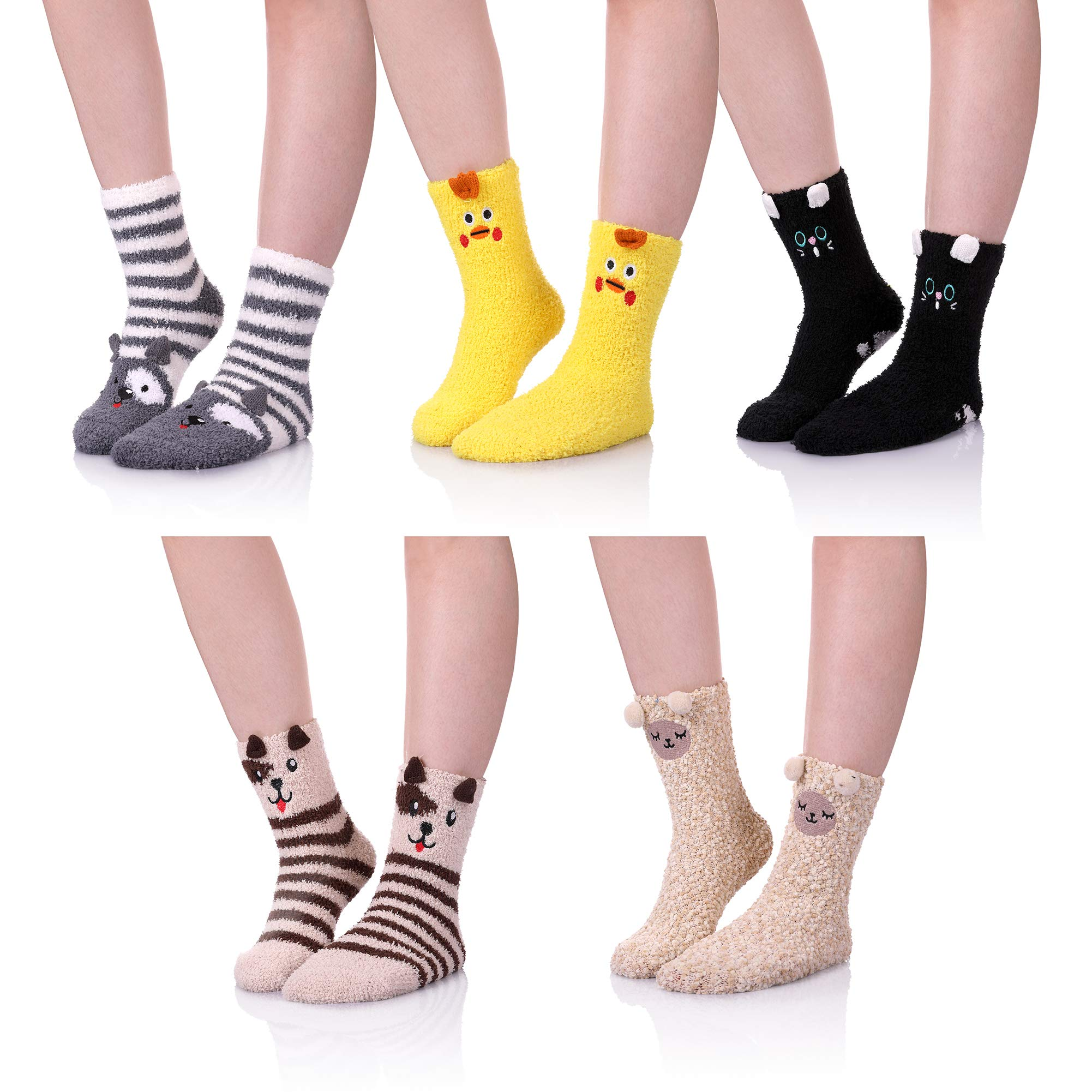 ZaYang 5 Pack Womens Girls Cute Animal Soft Fuzzy Warm Winter Sleeping Slipper Socks Value Pack (Animal A)