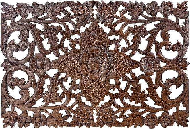 "Glorious Thai Hibiscus Hand Carved Teak Wood Wall Art 18/"" x 12/"""
