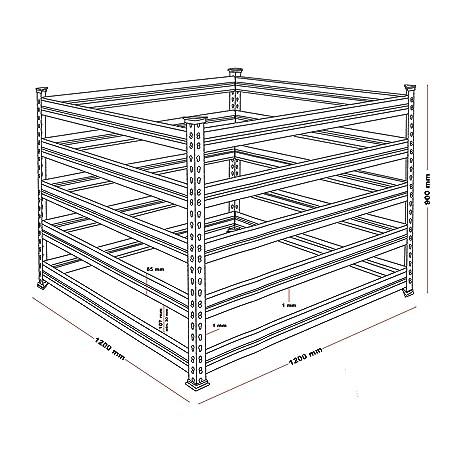 WilTec Compostador de Metal para jardín 120 x 120 x 90 cm ...