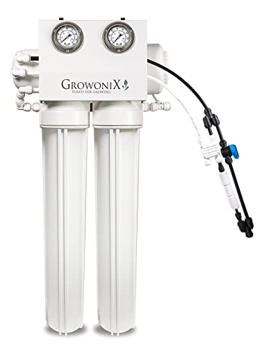 GROWONIX EX800 Tall Reverse Osmosis System Ultra High Flow Rate Water Purification Filter for Hydroponics Gardening Growing Drinking H20 Coffee Point of use On Demand Purifier Most Efficient Eco Water