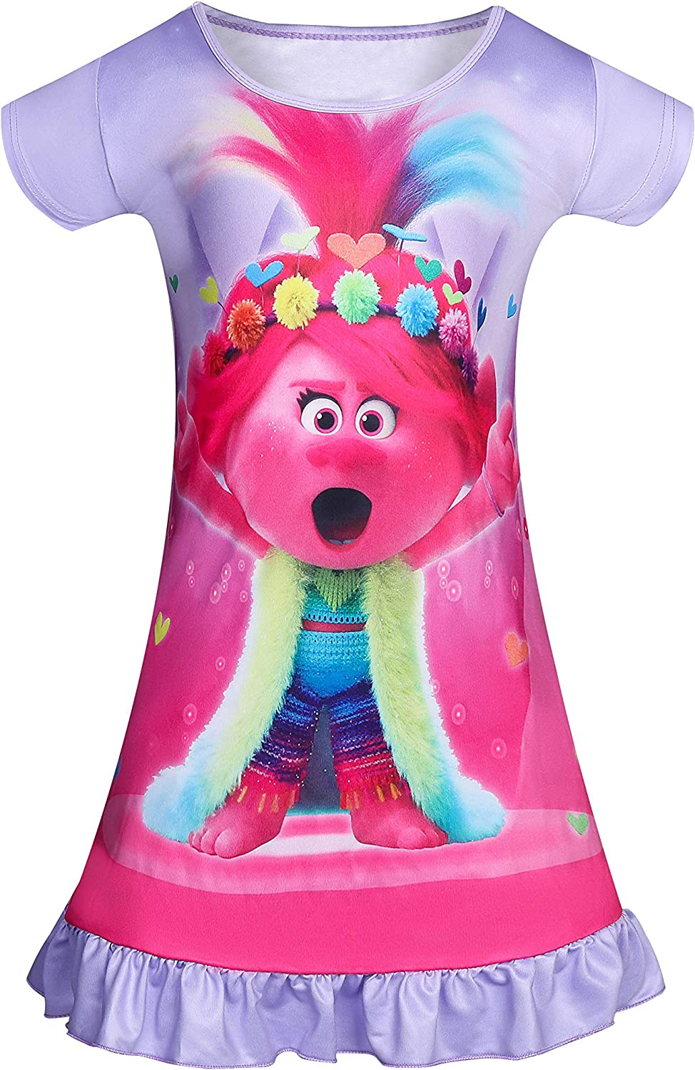 KISSI Trolls Nightgowns for Girls Toddler Bedding Shirts Princess Pajamas Short Sleeve Poppy Home Wearing 3-8Years