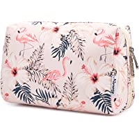 Large Makeup Bag Zipper Pouch Travel Cosmetic Organizer for Women and Girls (Large, Beige Bird)