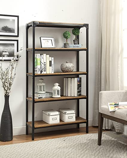 5 Tier Vintage Brown Industrial Look Black Metal Bookcase Bookshelf Shelf  Heavy Duty