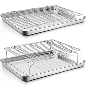 P&P CHEF 2 Baking Sheets and 2 Cooling Racks Set, Stainless Steel Baking Pan Tray with Stackable Tier Wire Racks for Cookie Bacon Beef, Healthy & Non-toxic, Toaster Oven & Dishwasher Safe (4 Pcs)