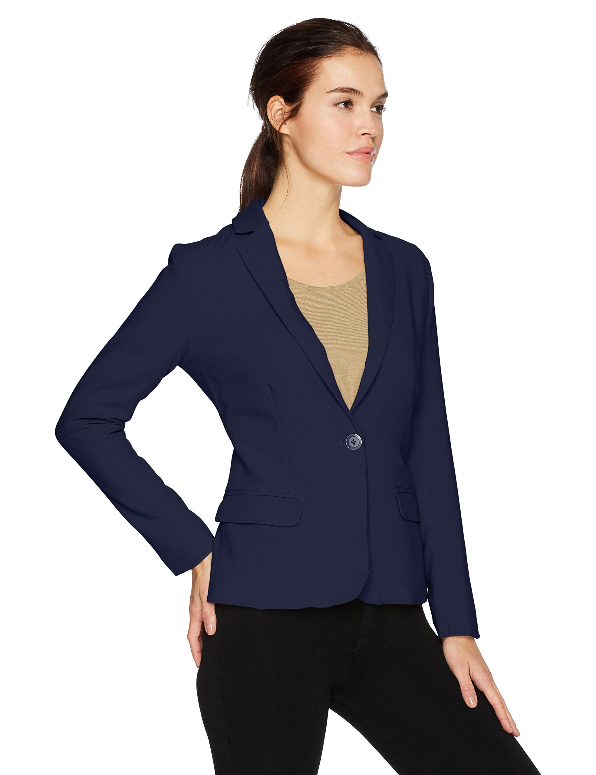 cupcakes and cashmere Women's Corvin Fitted Blazer with Striped Lining, Ink, 8