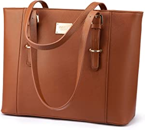 14-Inch Laptop Bag for Women, Professional Computer Bags - Laptop Purse with Padded Compartment - Fit Under Airplane Seat (Brown)
