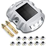 12-Pack Upgraded Solar Driveway Lights with Switch JACKYLED Outdoor Aluminium Alloy Durable Solar Deck Lights Bright…