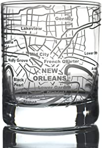 Greenline Goods Whiskey Glasses - 10 Oz Tumbler for New Orleans Lovers (Single Glass)| Etched with New Orleans Map | Old Fashioned Rocks Glass