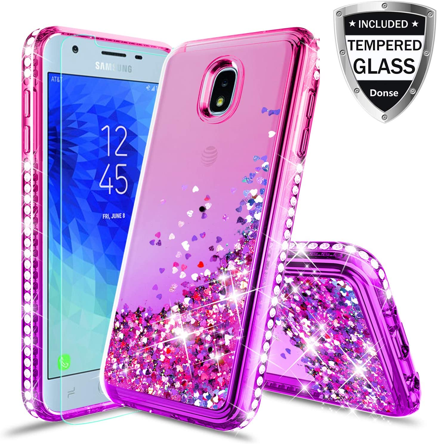 Donse Samsung Galaxy J7 Refine Case,Galaxy J7 Star Case/J7 Crown/J7 2018/J7V 2nd Gen/J7 Aero/J7Top Case W/Glass Screen Protector,Glitter Liquid Quicksand Sparkle Diamond for Girls Women Purple/Pink