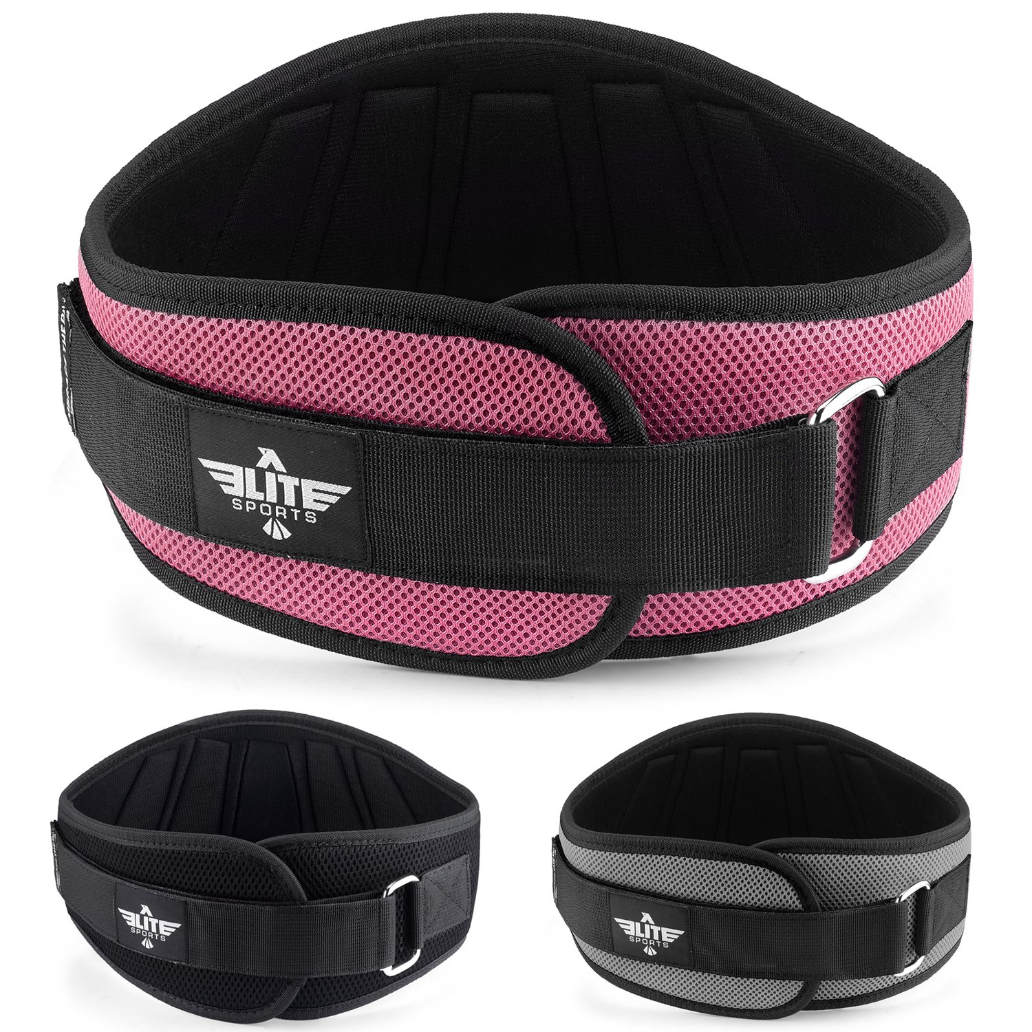 Elite Sports New Item Back Support for Men and Women, Olympic Lifting, and Weight Lifting Belt (Pink, X-Small)