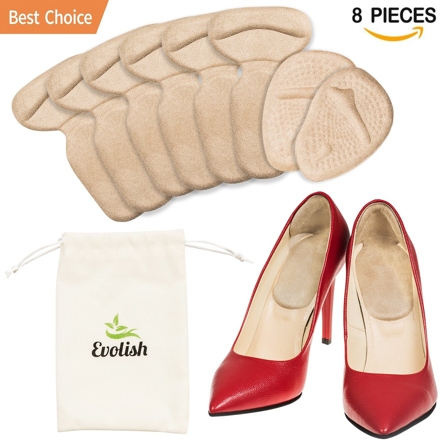 High Heel Pads (8 pcs) | High Heel Grips | High Heel Cushion Inserts for Women | | Shoe Heel Liners Non Slip Shoe Filler for Too Big Shoes Heel Insoles for Blisters Pain Relief by Evolish (Beige)