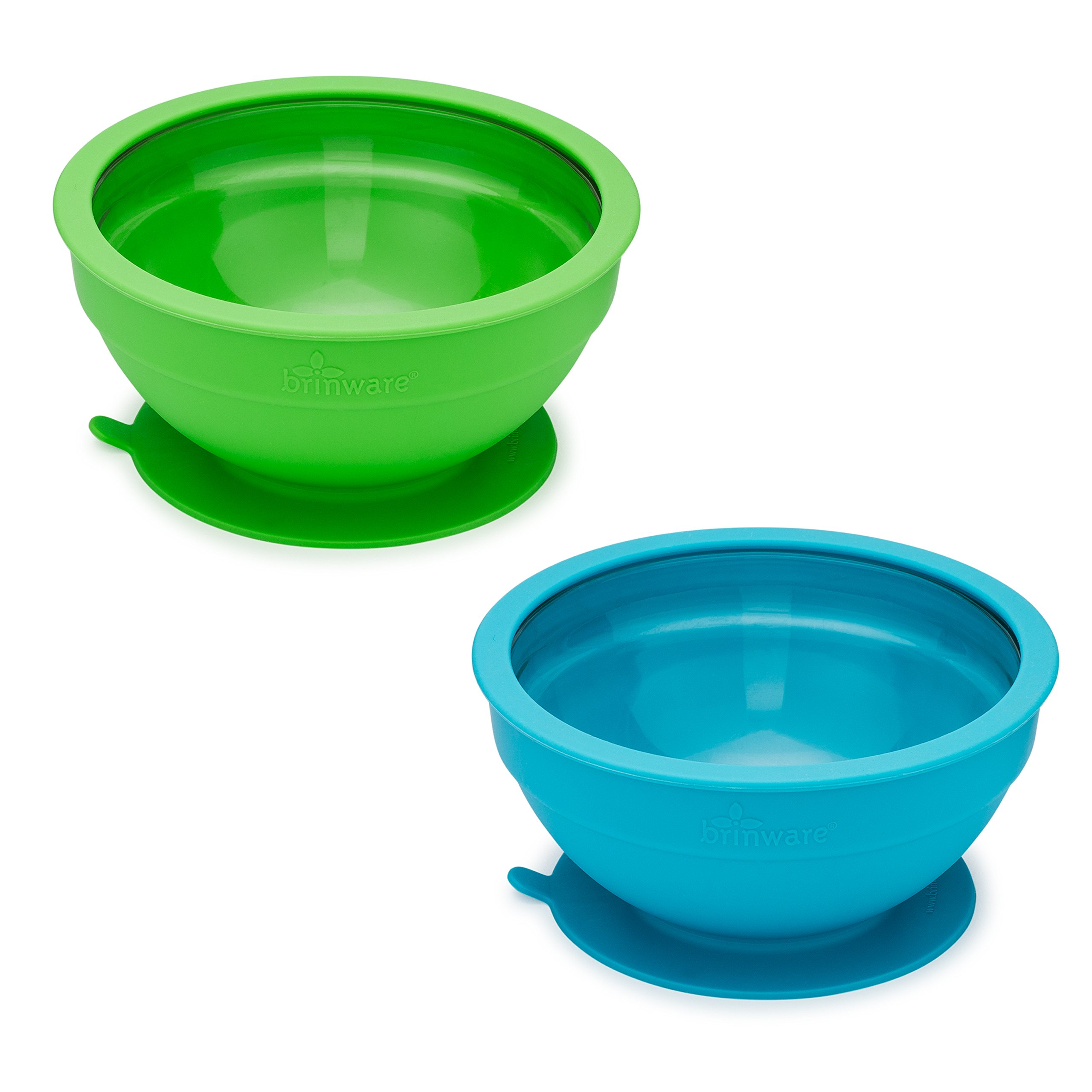 brinware 2 Piece Glass and Silicone Suction Bowls, Blue Green