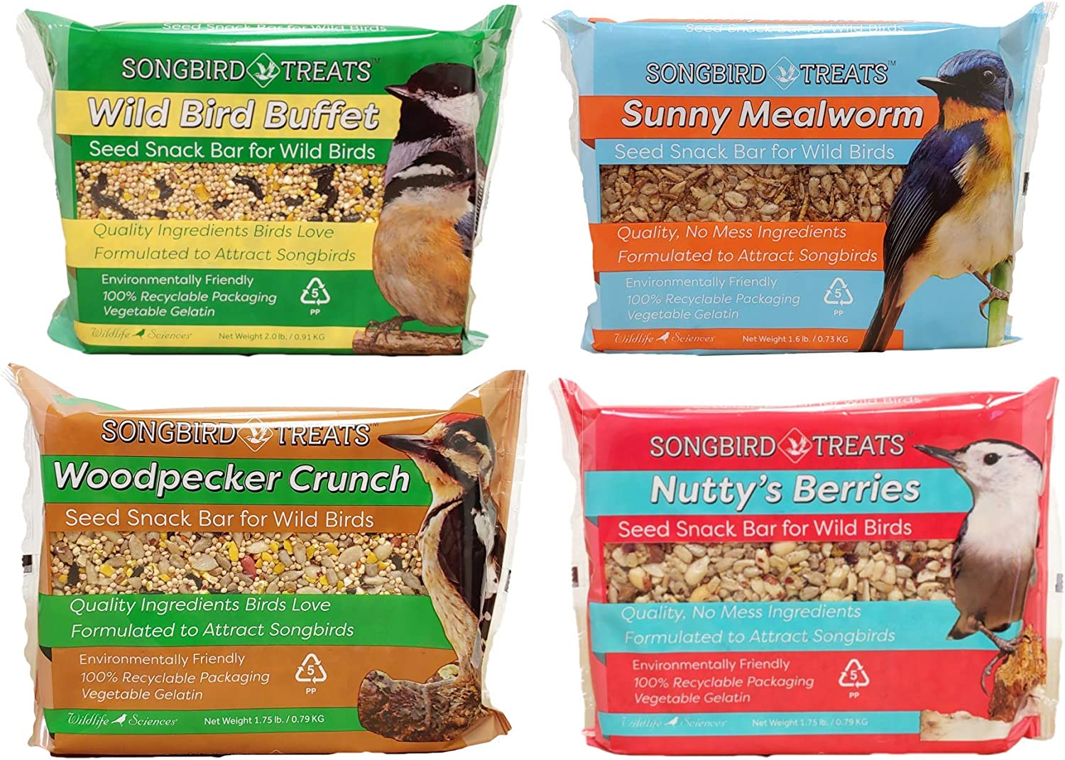 Songbird Treats Seed Cake Variety 4 Pack of Large Seed Cakes | 1.5-2 lb Large Bird Seed Cakes for Wild Birds