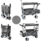 WagonBuddy Grey Free ICE Cooler Push Pull Handle Folding Baby Stroller Wagon Outdoor Sport Collapsible Kids Trolley W/ Canopy Garden Utility Shopping Travel Beach CART - Easy Setup NO Tool Necessary