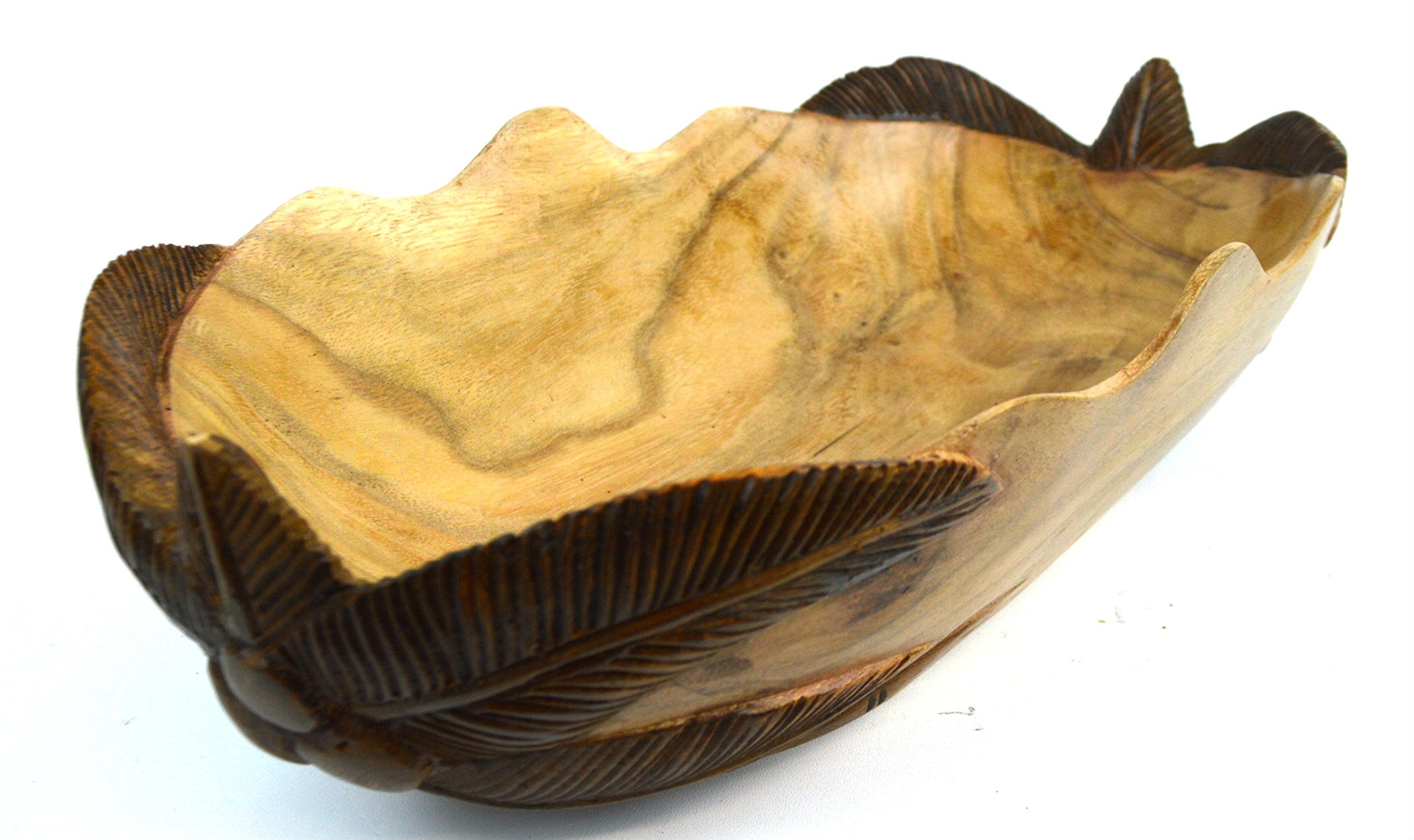 Hand Carved Wood Sea Ocean Palm Tree Tropical Fruit Bowl Centerpiece 2 Tone