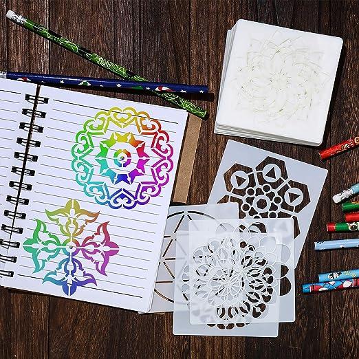 TAZEMAT 36pcs Mandala Stencils Reusable Painting Templates for Walls Furniture Kids Plastic Stencil Set Embossing DIY Craft Cards Scrapbooking Photo Album Stone Rock Drawing Decor