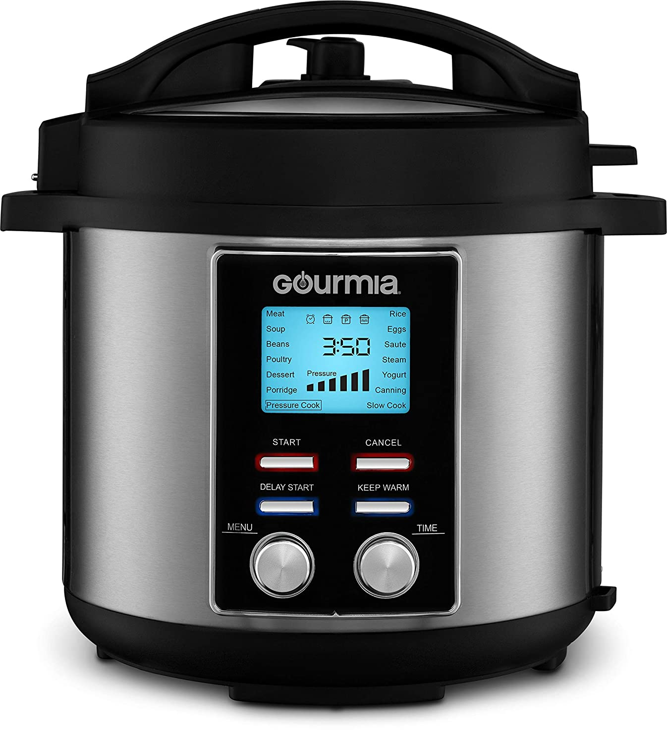 Gourmia GPC655 6 Qt Digital SmartPot Multi-Function Pressure Cooker | 15 Cook Modes | Removable Nonstick Pot | 24-Hour Delay Timer | Automatic Keep Warm | LCD Display | Pressure Sensor Lid Lock
