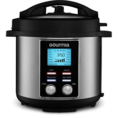 Gourmia GPC655 6 Qt Digital SmartPot Multi-Function Pressure Cooker - 15 Cook Modes - Removable Nonstick Pot - 24-Hour Delay Timer - Automatic Keep Warm - LCD Display - Pressure Sensor Lid Lock