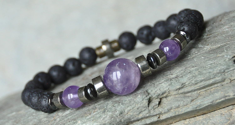 Men Amethyst Bracelet, Pyrite Bracelet, Rock Lava Mens Gemstone Mala Bracelet, groounding spiritual bracelet,
